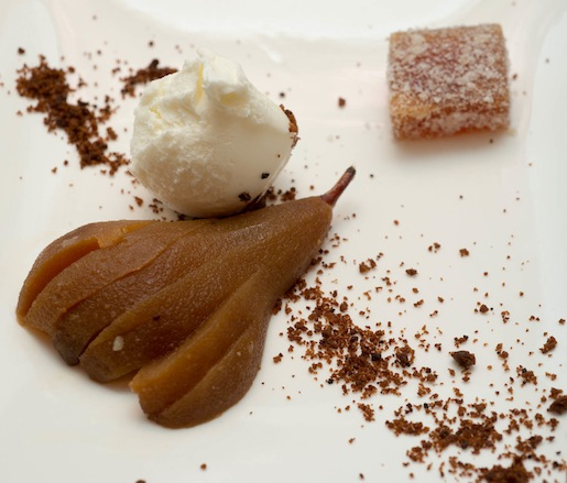 Molasses-Poached Bosc Pears with Gingerbread Crumble and Ginger Pâtes de Fruits